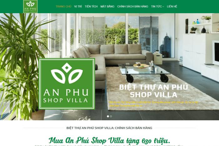 Mẫu website Bất động sản anphushopvilla.info